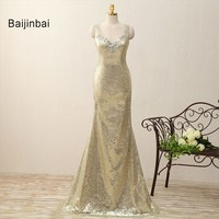 Real Photo Elegant V Neck Champagne Sequin Gold Long Mermaid Bridesmaid Dresses 2016 Vestido De Noiva