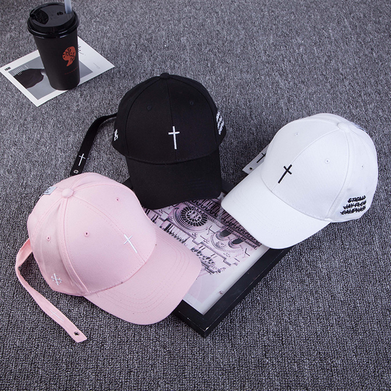 b45a7db86c6 Summer Korean Embroidered Cross Baseball Cap Male and Female Outdoor Hat  Curved Embroidery Sunshade Cap