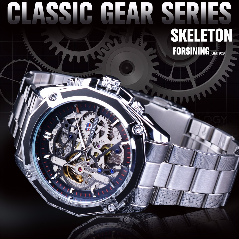 Forsining Mechanical Steampunk Design Fashion Business Dress Men Watch Top  Brand Luxury Stainless Steel Automatic Skeleton Watch-in Mechanical Watches  from ... 02299831a88