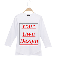 Customized Kids T-Shirts Children 100% Cotton Long Sleeve Print Your Own Designe Tee Tshirt Girl  Boy Custom Photo Logo Printing