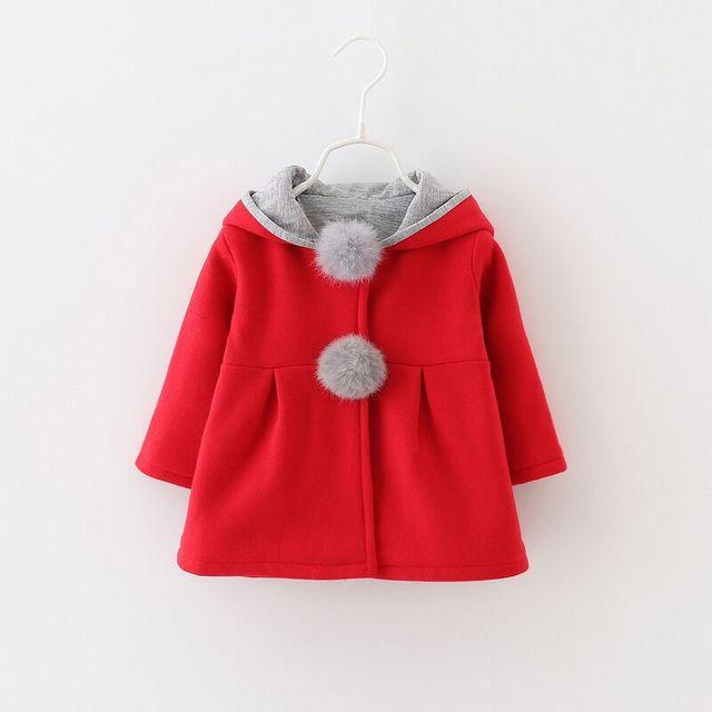 Manera de la alta calidad del bebé de lana outwear muchachas de la capa acolchada bebé rojo con capucha