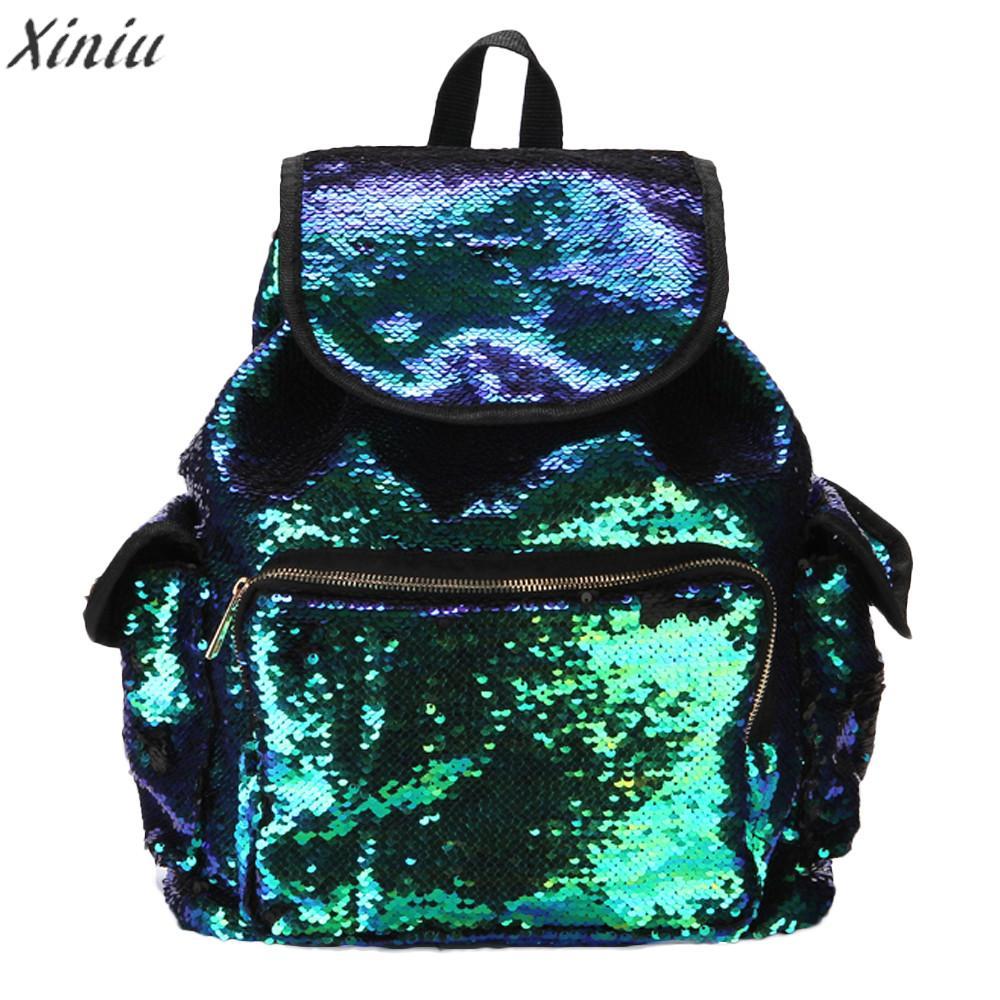 fashion Backpack Women Double Color shiny Sequins Girls School Bag Soft Backpack Fashion Bags super quality Mochila Feminina#5