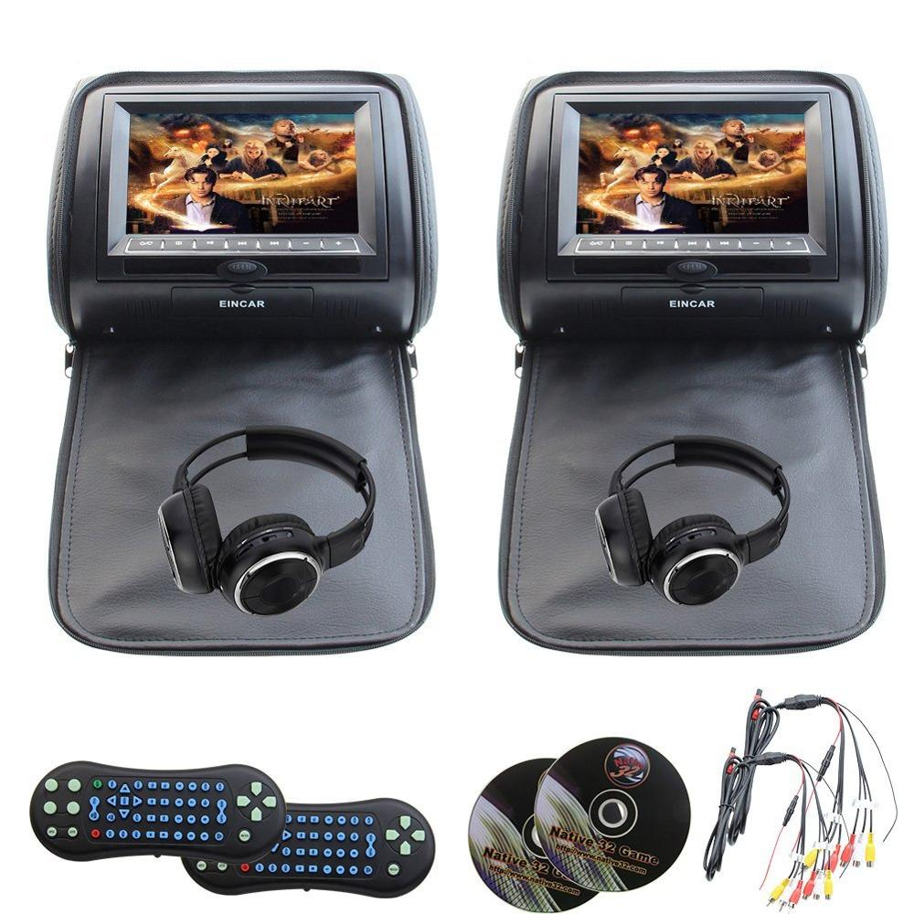 все цены на  Eincar Pair of car headrest dvd player monitor USB/SD/CD/MP3/MP4 car entertainment FM IR headrest video player+2 IR headphones  в интернете