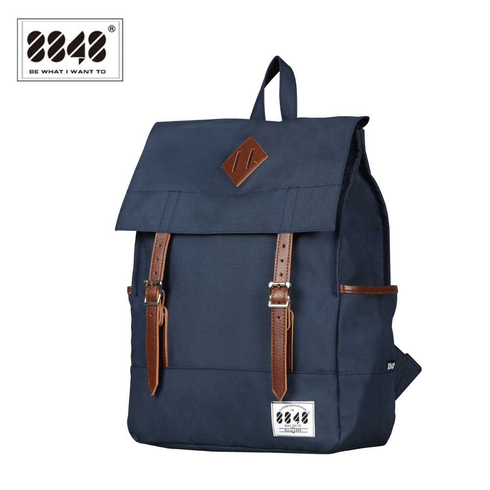 8848 Fashion Wanita Kanvas Ransel Biru Tahan Air Tas Sekolah Laptop 15.6 Inch Ransel Remaja Sekolah Bagpack Mochila D002-1