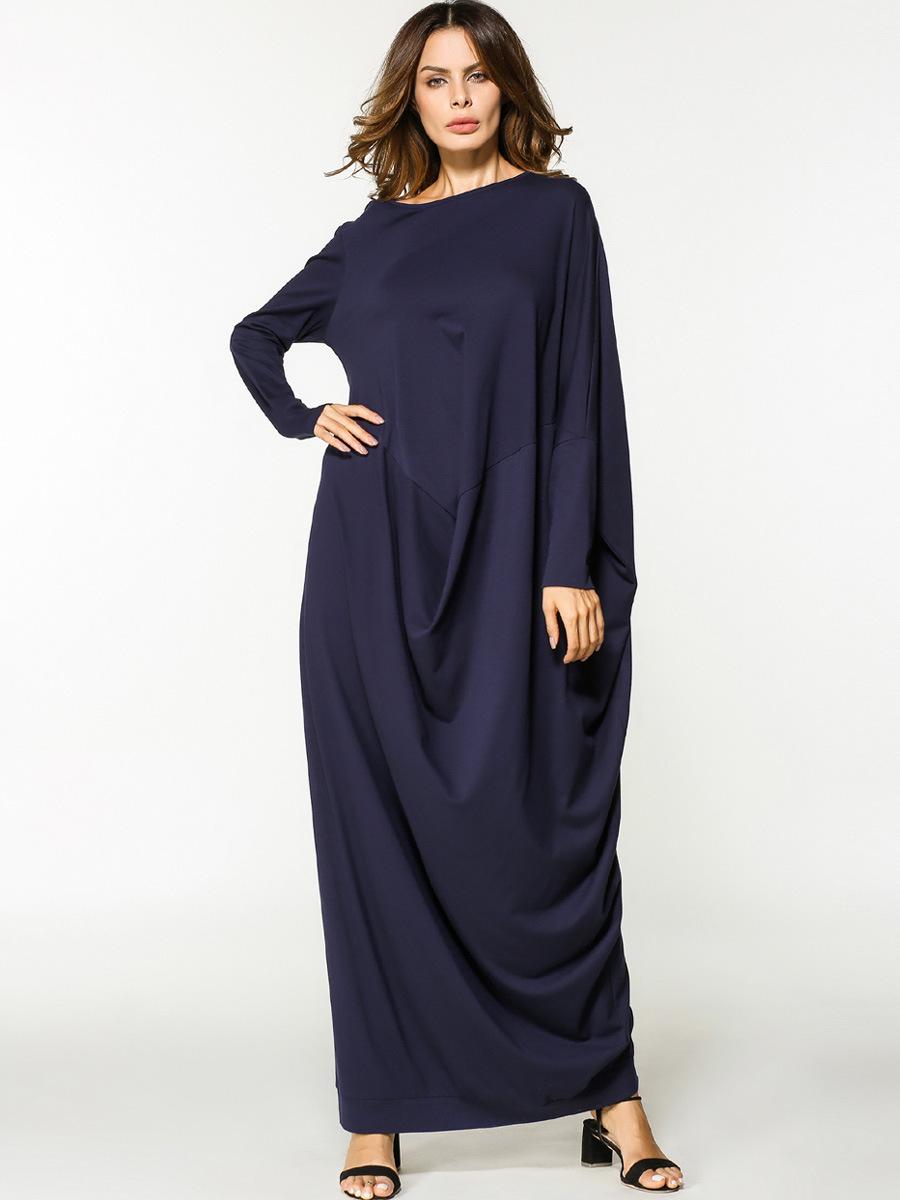 028ac851798 Muslim Abaya Maxi Dress Long Sleeve Cotton Robe Loose Style Islamic Clothing  Middle East Sundress Arab Worship Service Autumn