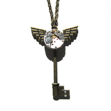 steampunk gothic punk rock watch parts movements metal gear key wings necklace pendant chain women girl vintage gift jewelry