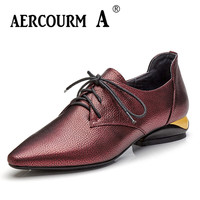 Aercourm A 2018 Woman Brand Cowhide Shoes Spring Pumps Spring High Heels Shoes Square Toe Lacing