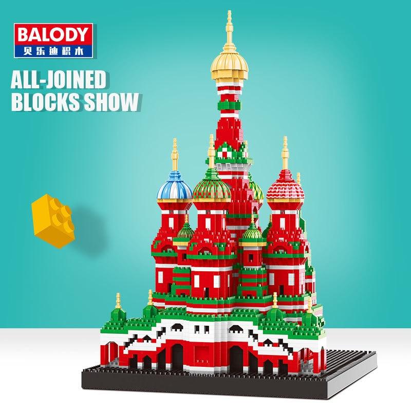 Mini blocos de arquitetura modelo pequeno edifício tijolos série balody diamante brinquedo catedral cidade compatível brinquedo para crianças presente