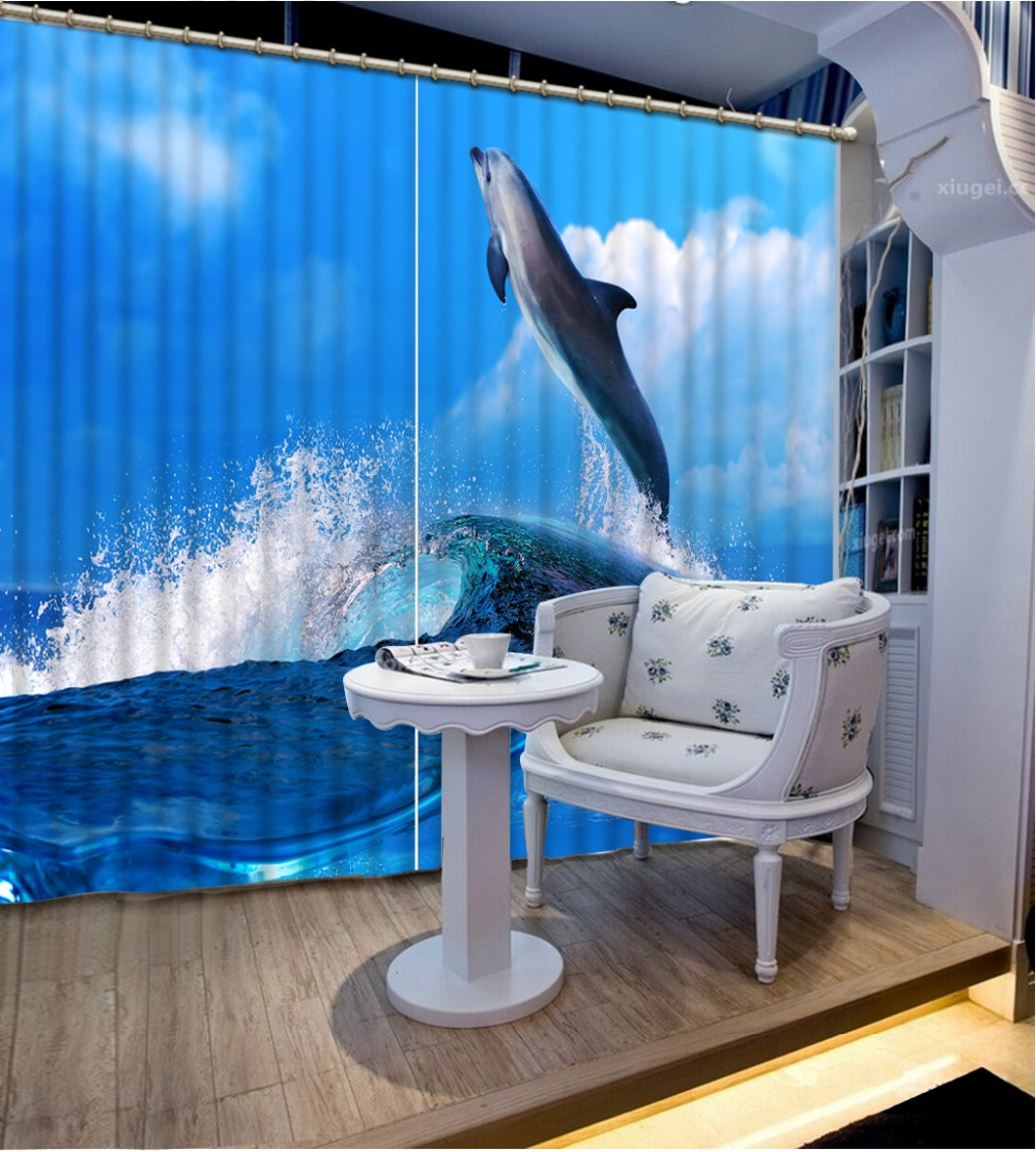 Modern 3D Curtains Photo waves dolphin Kids Room Curtains Home Decoration Hotel Office Decor Shade Drapes Cortinas Modern 3D Curtains Photo waves dolphin Kids Room Curtains Home Decoration Hotel Office Decor Shade Drapes Cortinas