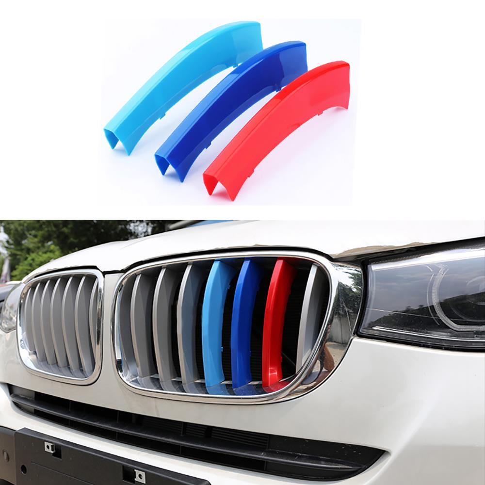 3 Pcs/Set Front Grille Cover Decoration Trim Strips ABS For BMW X3 X4 F25 F26 2011 2012 2013 2014 2015