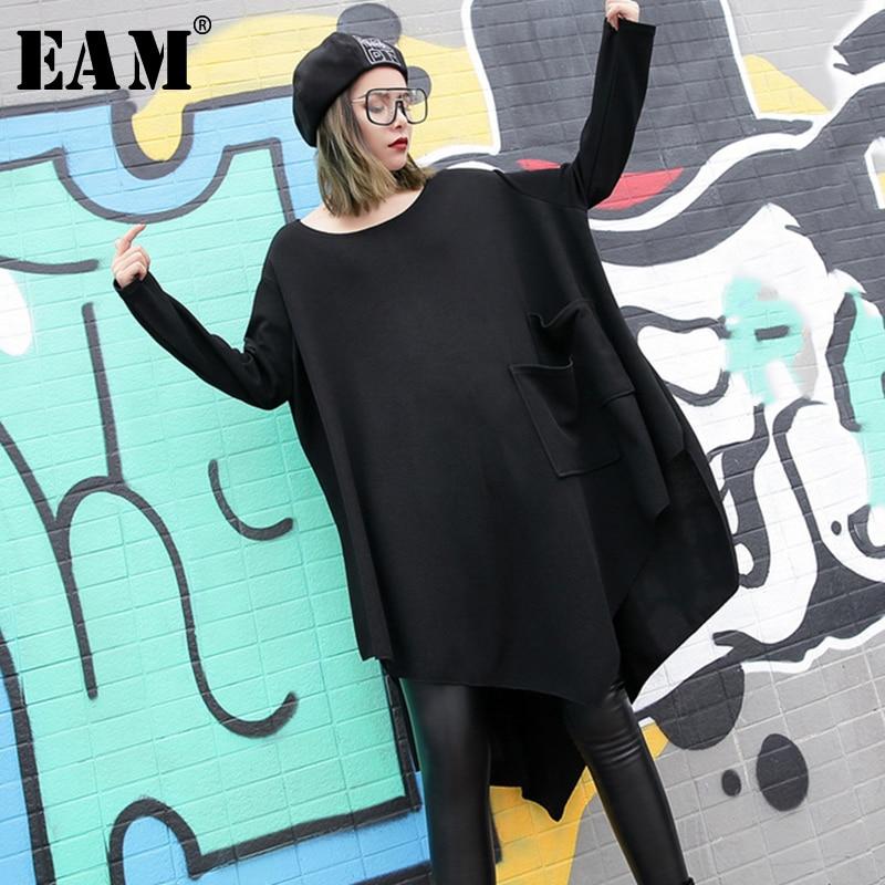 WKOUD EAM 2019 New Black Loose Irregular Dress O-neck Full Sleeve One-sided Double Pocket Autumn Winter Women Fashion Tide JH484