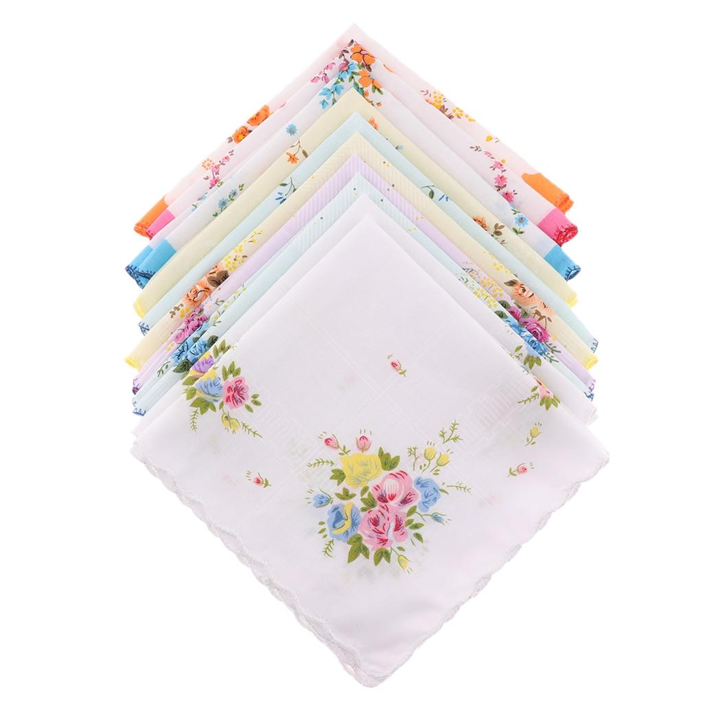 10pcs Women Handkerchiefs 100% Cotton Hankies Wedding Pocket Square 30x30cm
