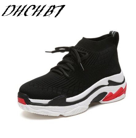 2018 Spring Fashion Sneakers Women Slip On Breathable trainers women Platform Shoes Tenis Feminino Casual Shoes Women Black/Red uovo racing driver sport kids shoes boys leather children shoes non slip tenis sneakers breathable boys shoes trainers wearable