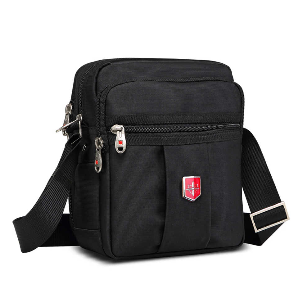 New Swiss Brand Men's Handbags Messenger Shoulder Bag crossbody Waterproof bag Oxford Black Bags Unisex Vintage Crossbody Bag