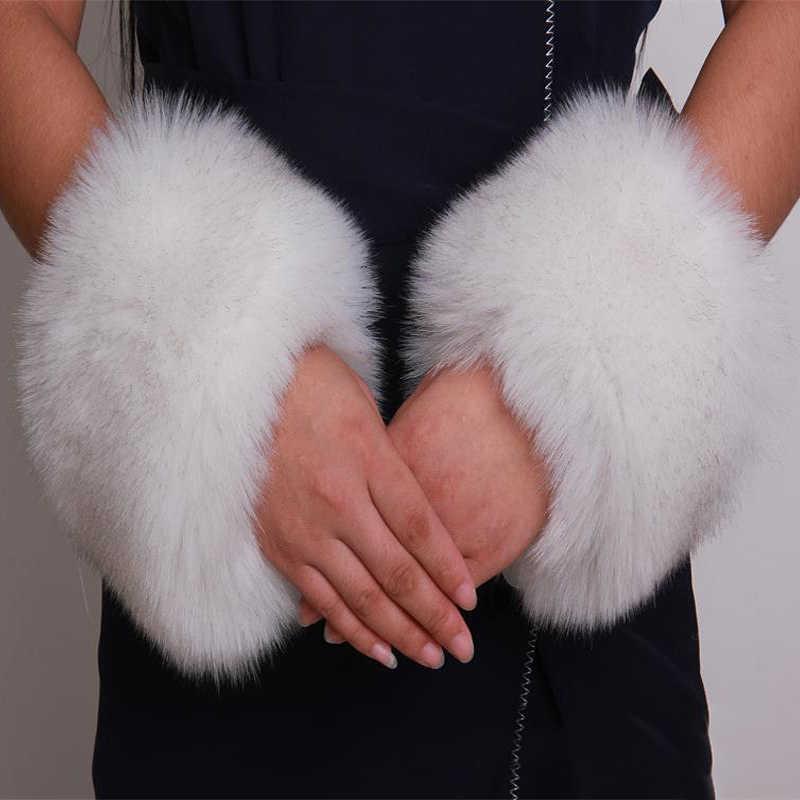 Um Par de Manguito De Pele Macia Warmer Pulseira Acessórios Um Par de Moda Decoração de Luxo Para Baixo Casaco Quente Fofo
