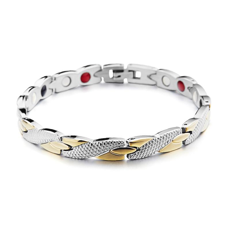 Korean Men Women Healthy Magnetic Bracelet Titanium Steel Power Therapy Magnets Bangles Gift @M23