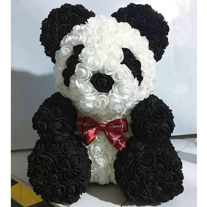 40CM Foam Rose Animals Artificial Flower Rose Panda Little Pug Dog Rabbit for Valentines Romantic Gift Party Decoration Use