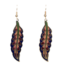 MYTHIC AGE Gold Color Ethnic Chinese Element Cloisonne Enamel Leaves Dangle Earrings Wholesale Jewelry For Women Girls New mythic age gold color ethnic chinese element cloisonne enamel leaves dangle earrings wholesale jewelry for women girls new