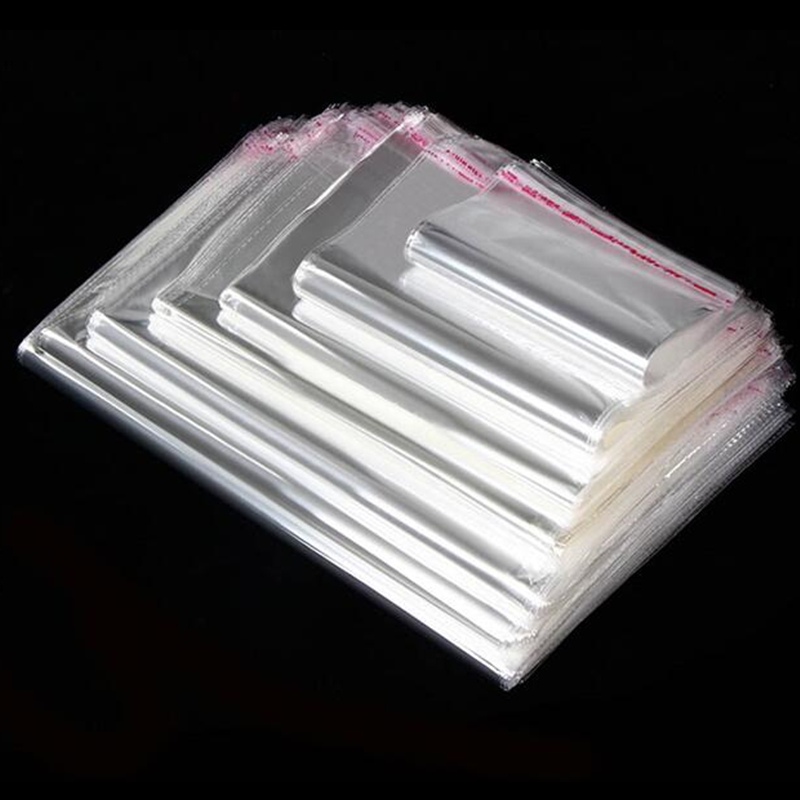 100 Pcs//Lot Transparent OPP Self-adhesive Bag Resealable OPP Poly Bags Clear