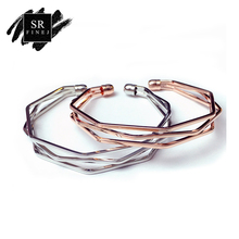 SR:FINEJ Vintage Cuff Bracelet Bangles for Women Men Brief Rose Gold Color Open Charms Multi-layer Bracelet Jewelry