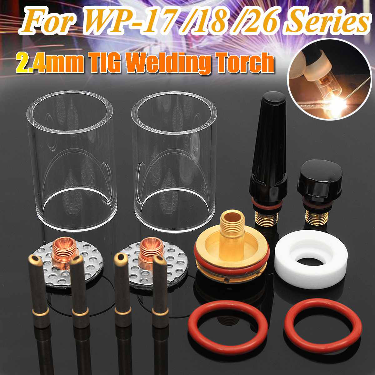 14pcs TIG Welding Torch Stubby Gas Lens Pyrex Glass Cup Practical Accessories Welding Torch Kit Argon Arc Tool For WP 17/18/26