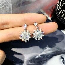 FYUAN Small Zircon Stud Earrings for Women Girl Bijoux Snowflake Crystal Fashion Jewelry Gifts
