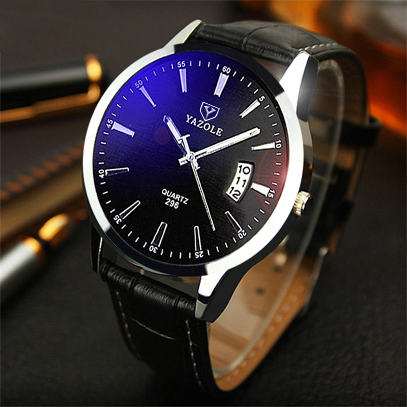 YAZOLE Quality Brand Watch Men Watches Male Clock Leather Strap Quartz Watch Wrist Calendar Date Quartz-watch Relogio Masculino
