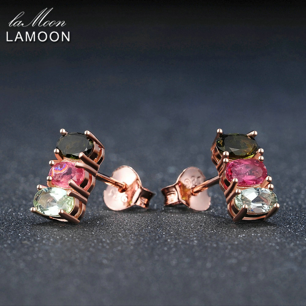 LAMOON Jewelry Sets For Women 100% S925 Sterling Silver Tourmaline Fine Jewelry Natural Gemstone Set Wedding Gift V006-1