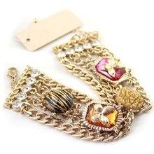 Крыло Yuk Tak Топ Мода Настоящее звено цепи завод любимый очаровательный искусственный цветок бабочка полые браслеты