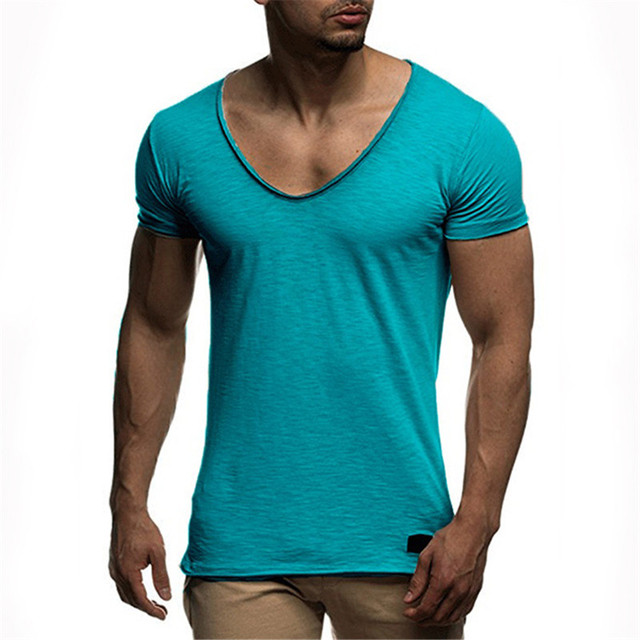 51c57c01666 Summer Deep V Neck T Shirt Men M-3XL Fashion 2018 Brand Mens Tee Shirts  Short Sleeve Hip Hop Casual Solid Color T Shirts for Men