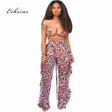Echoine Women Two Piece Set Tie-Dye Print Leopard Sexy Halter Lace up Bikini Tops Ruffle Long Wide Legs Pants Beach Lady Outfits