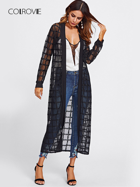 2e4dea801 COLROVIE Black Plaid Mesh Longline Elegant Kimono Women 2019 Spring Semi  Sheer Casual Blouse Long Sleeve Thin Office Kimono