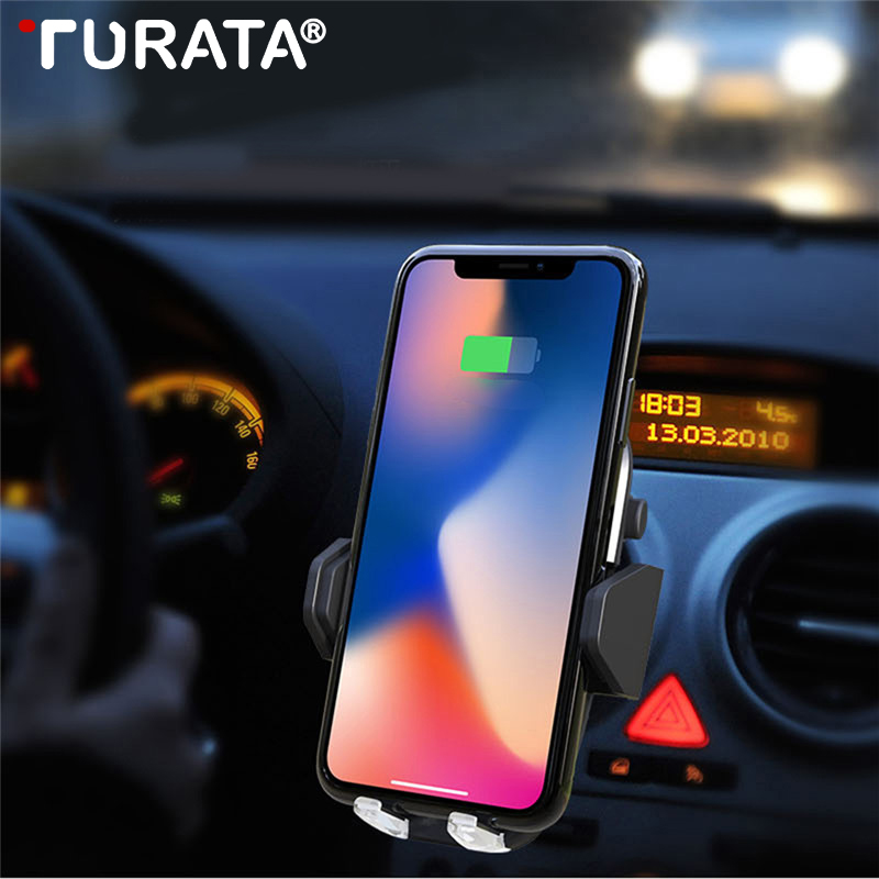 Turata Car Wireless Charger For iPhone X 8 7 Plus Qi Wireless Charger Air Vent Car Phone Holder Stand For Samsung Galaxy S9 S8