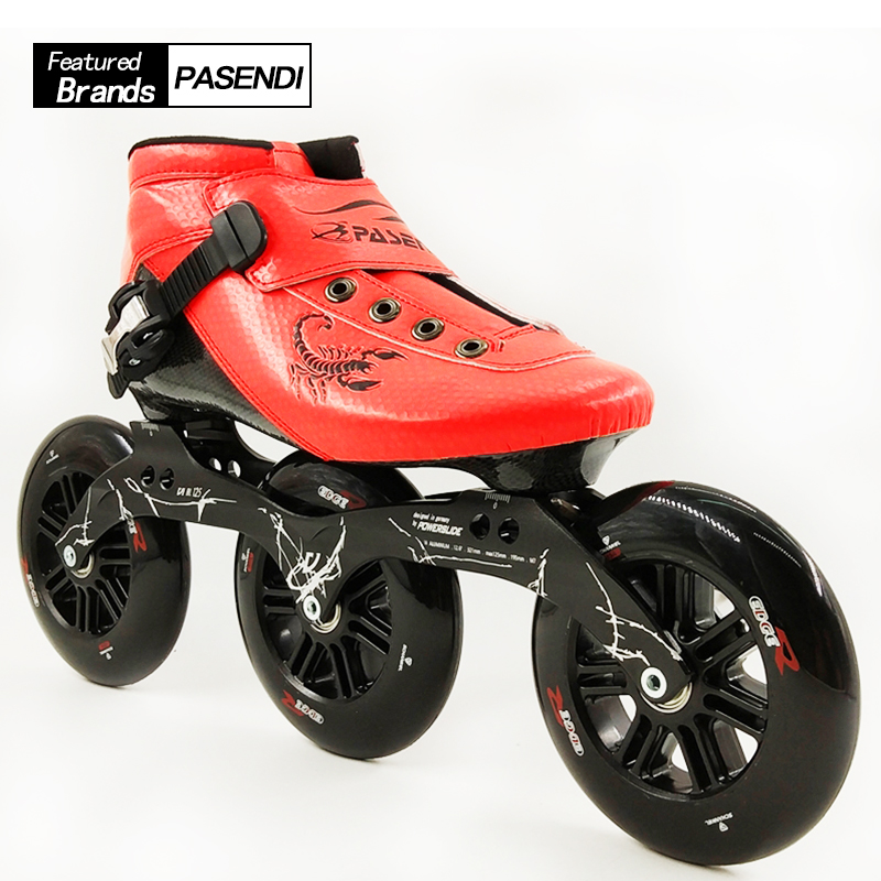 New 2017 PASENDI Speed Skating Shoes Women Men Roller Skates 3X125 Frame Boots Adults Big 3 Wheels Inline Skate Carbon Fiber cityrun inline speed skate frame 3 125mm 12 6 aluminum alloy 7075 for 3 wheels speed skating shoes basins free shipping bases