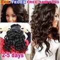 7А Афро-Американских Зажим В Выдвижении Человеческих Волос 120 г Перуанский Волосы девственницы Свободная Волна Клип В Наращивание Волос Натуральный Черный 10 шт.