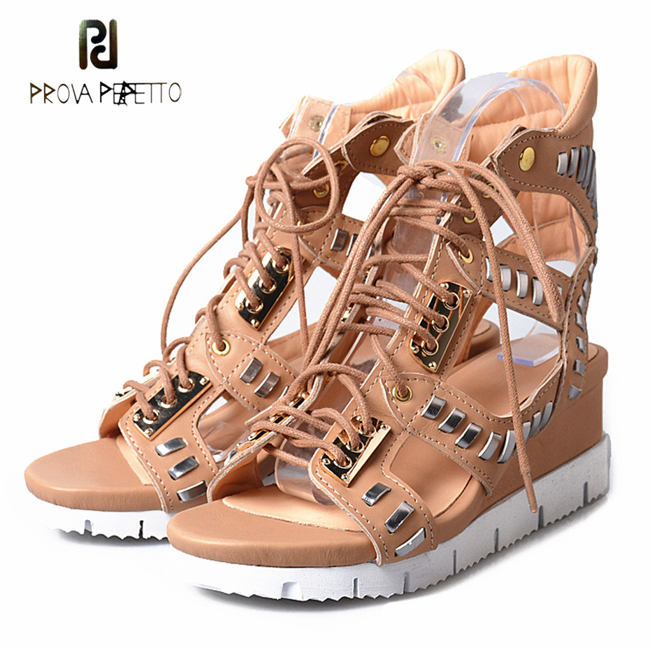 Prova Perfetto Hollow Out Women Sandals Gladiator Wedge Sandal Spell Color Lace Up Platform Summer Boots Ladies Shoes prova perfetto hollow out women sandals gladiator wedge sandal spell color lace up platform summer boots ladies shoes