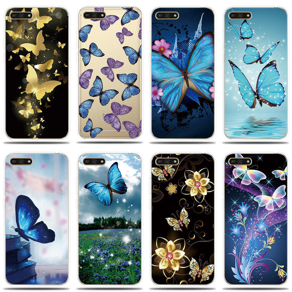 Silicone Phone Case for Huawei Honor 5A 6X 7X 7A 7C 7S 8C 8X Cover Colorful Butterflies Shell for Honor 8 9 Lite 10 Phone Case