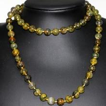 10mm yellow dragon veins agate jasper granos redondos de piedra natural collar de cadena larga para las mujeres moda joyería paño 35 pulgadas B2922