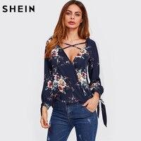 SHEIN Surplice Neckline Crisscross Tie Cuff Blouse Long Sleeve Woman Blouses 2017 Autumn Deep V Neck