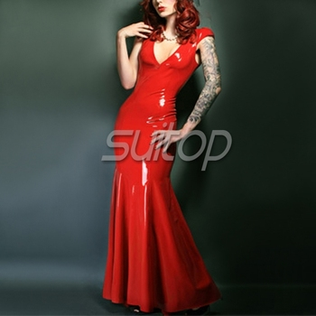 Suitop Red latex rubber party dresses
