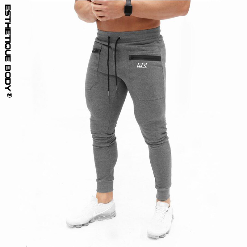 Men Sports Running Pants cotton solid color zipper pants Gym jogging pants men brand sports pants quality men's trousers simple style zipper fly button embellished solid color slimming straight leg cotton blend pants for men