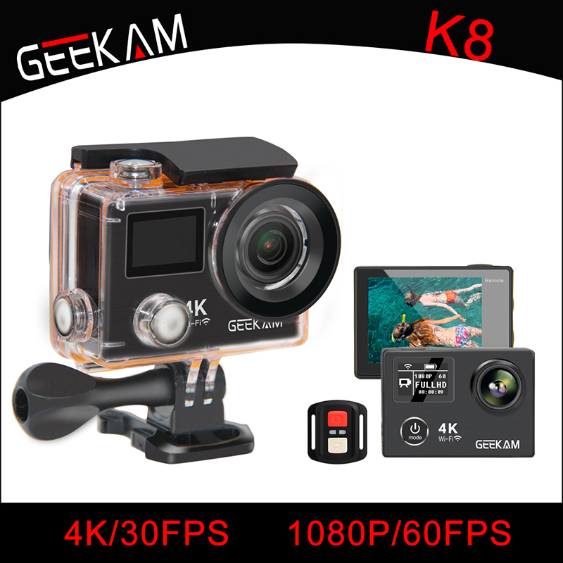 GEEKAM K8 Action Camera Ultra HD 4K WIFI Sport 360VR K8 1080P Dual 2 LCD 170D Wide-angle Waterproof Helmet Cam MINI Camcorder action camera h3r h3 ultra hd 4k 1080p 170d wide angle dual screen sports camera 2pcs battery dual charger