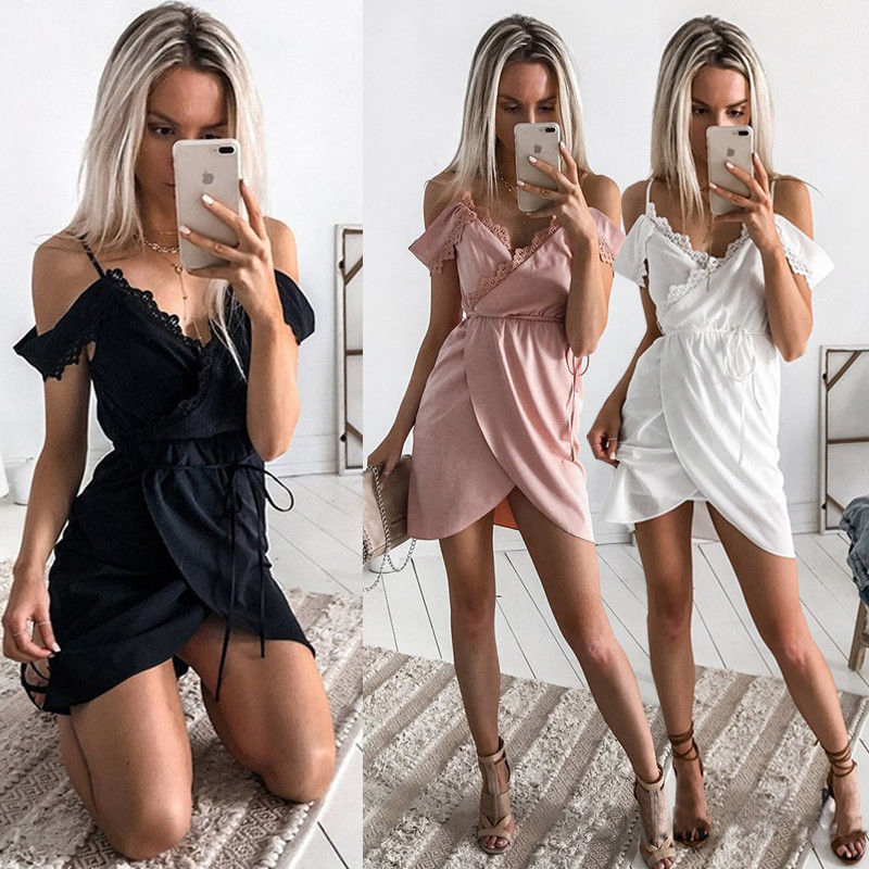 Fashion Summer Women Casual Lace Dresses Party Beach Mini Dress Sexy Ruffle Off Shoulder Clubwear Vestidos Clothing in Dresses from Women 39 s Clothing