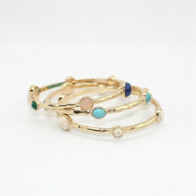 10Pcs/lot Wholesale Turquoise Stone Bangle Natural Lapis Lazuli Stone Charming Bangle Bracelet Jewelry Gold Plated