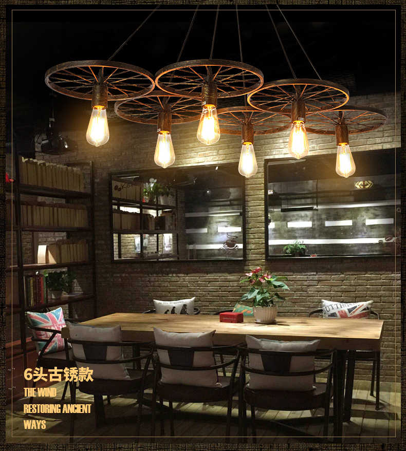 E27 LOFT Metal Wheel Pendant Light Vintage Industrial Lighting American Aisle Lights Lamp AC110V AC220V