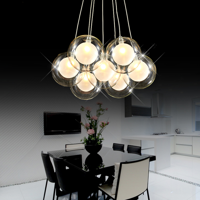 Modern Creative Clear Glass Double Deck Ball Chandelier Lamp Diy Home Deco Living Room Romantic