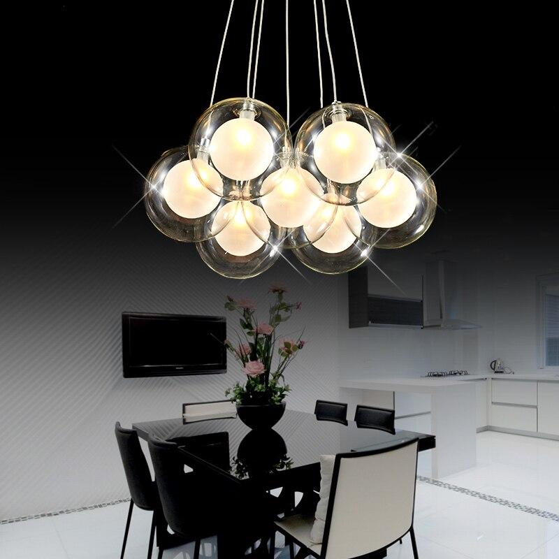Moderne créatif verre clair double pont boule lustre lampe bricolage maison déco salon romantique G4 LED ampoule lustre lumière