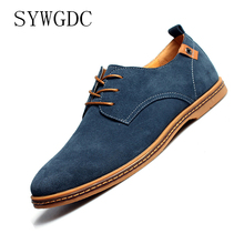 SYWGDC Brand 2019 Spring Cow Suede Leather Men Shoes Oxford Casual Classic Sneakers For Male Comfortable Footwear Big Size 38-48