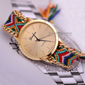 Leather Woven Bracelet Quartz Watch Women Fashion Footed Pendant Handmade Casual Clocks Wristwatch Reloj 5 Colors Relogio Reloj