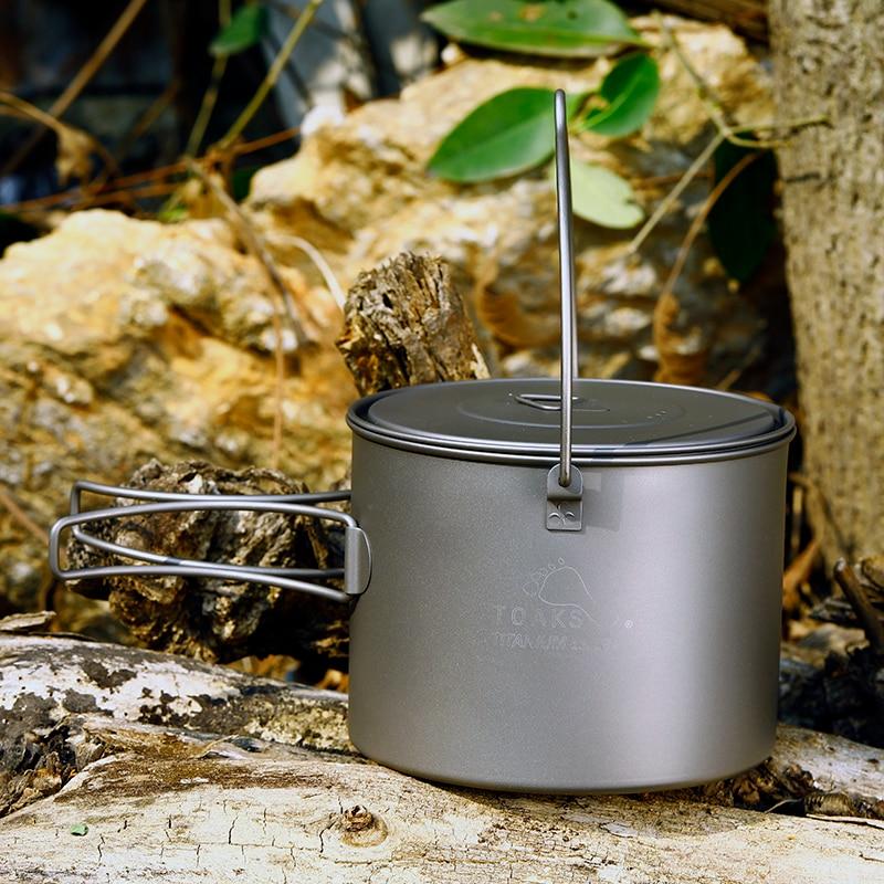 TOAKS Titânio Puro 1.3L Ultraleve Titanium Pot Camping Pendure Panela Panela Piquenique Pote com Bail punho